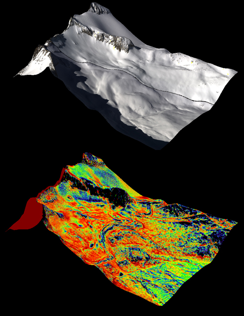 A natural color image of Mt. Lyell, the highest point in the Tuolumne River Basin (top image) is compared with a three-dimensional color composite image of Mt. Lyell from NASA's Airborne Snow Observatory depicting snow depth (bottom image). Mt. Lyell holds the Lyell glacier, which has been in sustained retreat since the 1800s. Credit: NASA JPL/Caltech