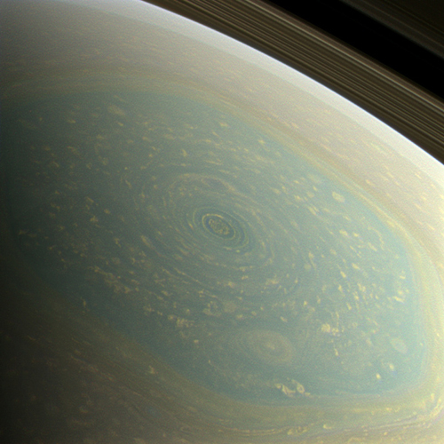 Spring at the North Pole. The north pole of Saturn, in the fresh light of spring, is revealed in this color image from NASA's Cassini spacecraft. Image Credit: NASA/JPL-Caltech/SSI