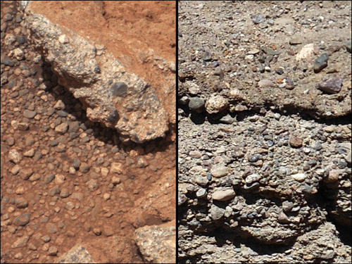 This set of images compares the Link outcrop of rocks on Mars (left) with similar rocks seen on Earth (right). Image credit: NASA/JPL-Caltech/MSSS and PSI