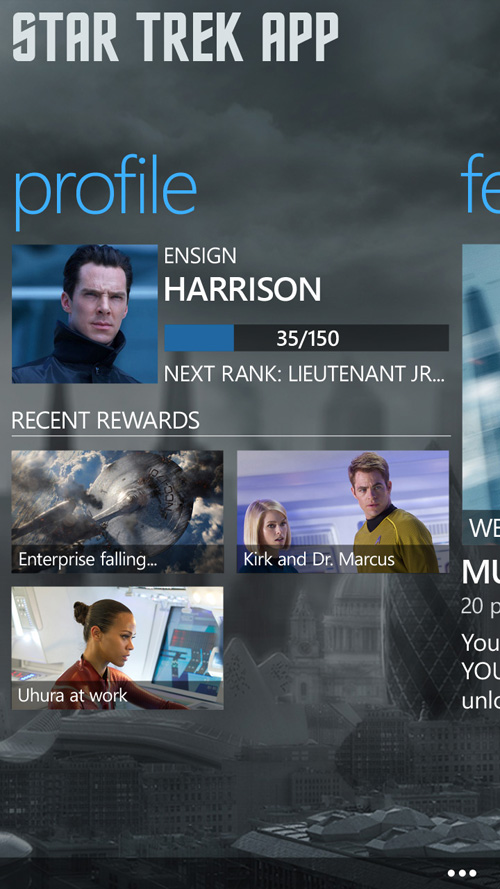 "Star Trek Windows Phone app. The unprecedented cross-company collaboration to promote ""Star Trek: Into Darkness"" kicked off with apps for Windows Phone (shown here) and Windows 8. Image credit: Microsoft"