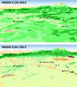 The quick dry-out of vegetation in Southern California this year is depicted in this pair of images from the Moderate Resolution Imaging Spectroradiometer (MODIS) sensor on NASA's Aqua spacecraft. MODIS measurements show more vegetation with greener areas on Feb. 25, 2013 (upper panel), compared to those on May 1, 2013 (lower panel), which is the nominal start date for fire season in Southern California. Locations where multiple wildfires erupted in late April and May 1 are marked. Image credit: NASA/JPL-Caltech/U.S. Forest Service (Click image to enlarge)