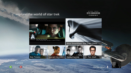 "Xbox SmartGlass will provide a rich second screen experience that gives people access to behind-the-scenes footage from the 2009 film when they watch the movie on Xbox Video on their Xbox 360. It will also provide ""Star Trek Into Darkness"" exclusive trailers, videos and special promotional offers. Image credit: Microsoft"