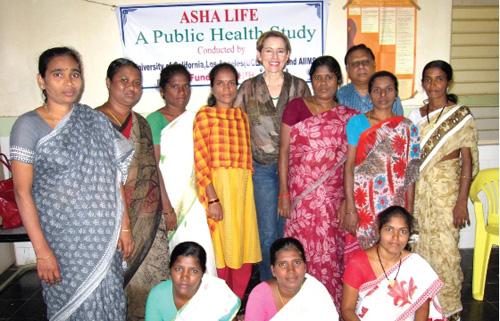 AHSA-LIFE Study. UCLA's Adey Nyamathi (center) with program participants. Image courtesy of UCLA School of Nursing
