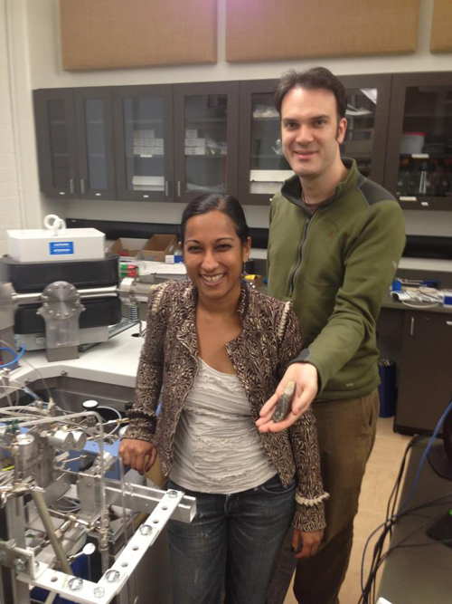 Aradhna Tripati and Robert Eagle (holding carbonate samples), in Tripati's UCLA laboratory. Image courtesy of UCLA