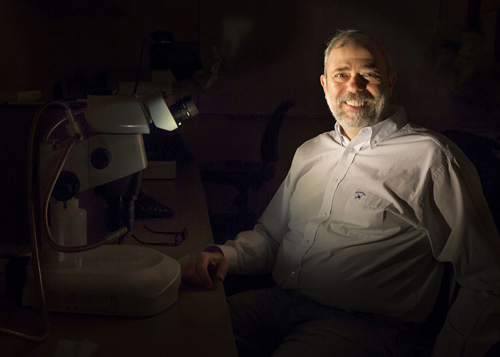Water rights: Earth and Moon share a source. About 4.5 billion years ago when a giant collision sent a disc of debris from Earth to form the Moon, some of Earth's water traveled along. Geochemist Alberto Saal and colleagues used isotopic composition as a fingerprint to trace the history. Image credit: Mike Cohea/Brown University