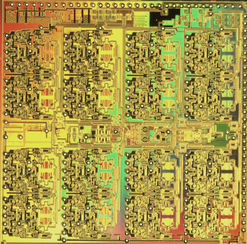 IBM researchers debut high-frequency wireless chip fabricated using IBM SiGe BiCMOS technology. Fully integrated phased array IC. 6.7mm X 6.7mm. Fabricated in IBM SiGe BiCMOS technology. The IC integrates 32 receive and 16 transmit elements with dual outputs to support 16 dual polarized antennas. Image credit: IBM