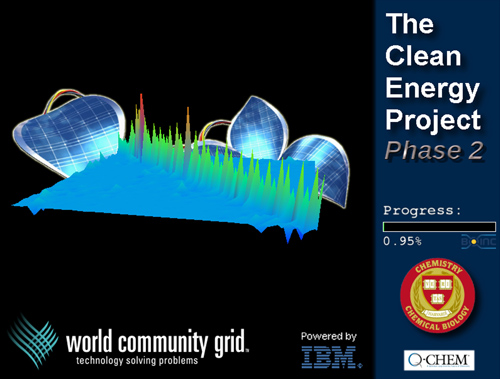 A Bright Idea. IBM's World Community Grid made it possible for the Harvard Clean Energy Project to conduct the most extensive investigation of quantum chemicals ever performed. This has yielded information on millions of new organic compounds, some of which can one day be developed into low cost, highly efficient solar cells. Harvard is open sourcing the information it compiled on these compounds, which scientists are invited to continue investigating. Image courtesy of Harvard Clean Energy Project. Image credit: IBM