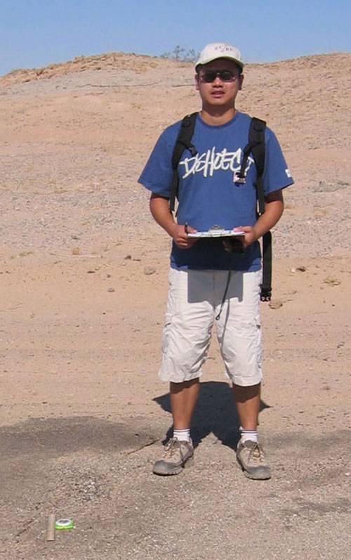 WHOI postdoctoral scholar Matt Wei, then a graduate student at Scripps Institution of Oceanography, in the field in 2006. (Photo courtesy of Matt Wei)