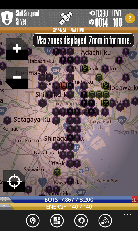 QONQR is a mobile game that brings the game to where you live, pitting you against other faction members in your area. This screen shot shows a player in Tokyo. Image credit: Microsoft