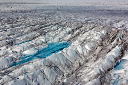 A new study shows summer melt events on the Greenland Ice Sheet are increasing in frequency due to rising temperatures.  Photo courtesy CIRES