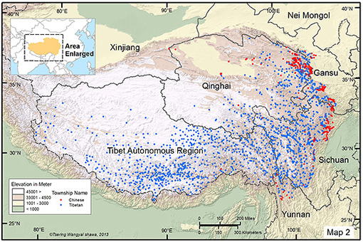 Research from Princeton University suggests that altitude can bar ethnic groups native to low-lying areas from high-elevation areas such as the Tibetan Plateau and the Andes, which could cause ethnic segregation and tension. The researchers studied the traditional and current presence of Han Chinese in the Tibetan homeland. A map (above) of 1,960 settlements indicated if a location has a Han Chinese (red dots) or Tibetan (blue dots) name. The presence of traditionally Chinese towns peaked at 8,900 feet, or 2,700 meters, above sea level (yellow areas). Meanwhile, the greatest number of settlements with a Tibetan name is at 14,760 feet, or 4,500 meters (white area). (Image by T. Wangyal Shawa)