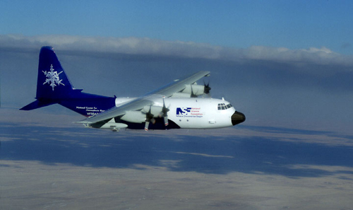 Researchers are taking measurements from several vehicles, including this C-130 aircraft. Image credit: NSF/NCAR