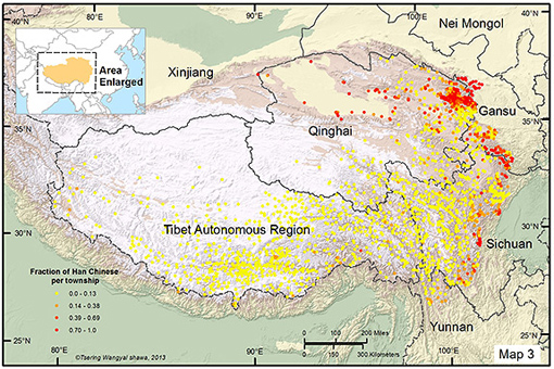 The researchers used 2000 Chinese census data to determine the fraction of Han Chinese living in each settlement. Settlements where at least one-third of the population are Han Chinese (orange and red dots) are clustered on the lower edges of the Tibetan Plateau at around 8,900 feet above sea level. (Image by T. Wangyal Shawa)