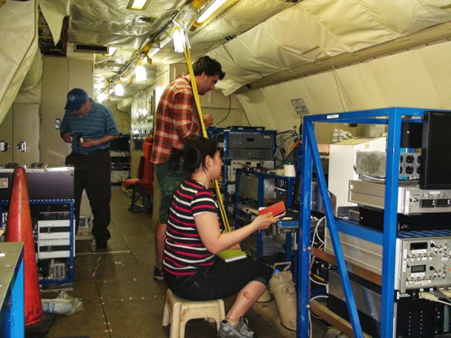 UW graduate student Felipe Lopez-Hilfiker (center) and postdoctoral researcher Ben Lee (not shown) are taking measurements in a P-3 aircraft. UW postdoctoral researcher Claudia Mohr is operating ground-based equipment. Image credit: University of Washington