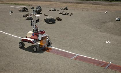 The K10 rover on NASA's Roverscape in California. The robot has just been manipulated by an astronaut in space to roll out an antenna film that CU-Boulder researchers would like to deploy on the far side of the moon. Photo courtesy Jack Burns
