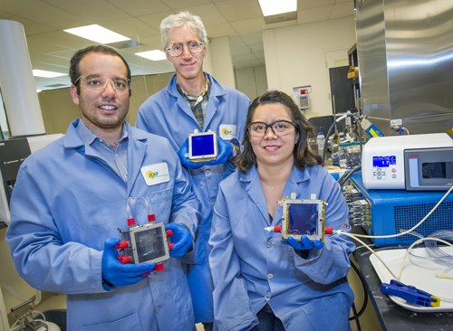 Miguel Modestino, Joel Ager and Rachel Segalman were part of the team that demonstrated the first fully integrated microfluidic test-bed for evaluating and optimizing solar-driven electrochemical energy conversion systems. (Photo by Roy Kaltschmidt)