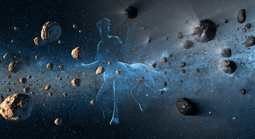 New observations from NASA's NEOWISE project reveal the hidden nature of centaurs, objects in our solar system that have confounded astronomers for resembling both asteroids and comets. The centaurs, which orbit between Jupiter and Neptune, were named after the mythical half-horse, half-human creatures called centaurs due to their dual nature. This artist's concept shows a centaur creature together with asteroids on the left and comets at right. Image credit: NASA/JPL-Caltech