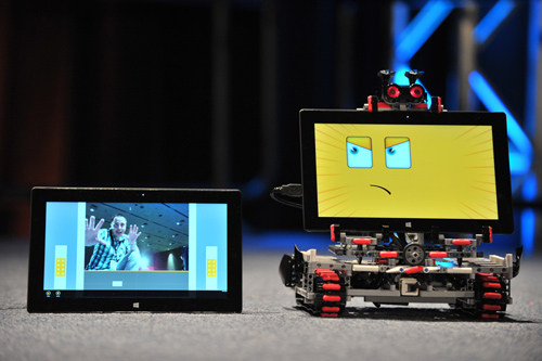 Creating new connected-device and robotic scenarios on Windows. Microsoft and LEGO Education built a new MINDSTORMS robot with facial tracking to inspire developers, students and educators to imagine the possibilities on the Windows platform. Image credit: Microsoft