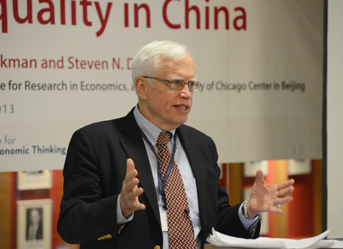 Professor James Heckman, the Henry Schultz Distinguished Service Professor of Economics, stresses the importance of tackling the issues of inequality from a broad perspective, as he introduces the roles of the six networks that comprise the Human Capital and Economic Opportunity Global Working Group. Photo by James Withrow