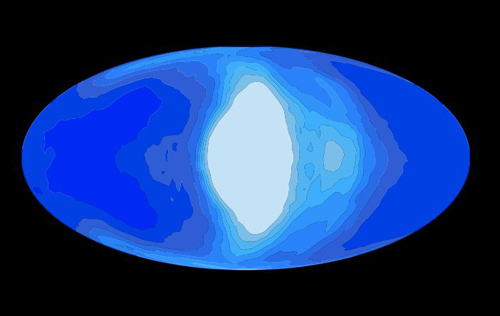 This illustration shows simulated cloud coverage (white) on a tidally locked planet (blue) that would be orbiting a red dwarf star. Planetary scientists at UChicago and Northwestern are applying global climate simulations to problems in astronomy. Illustration by Jun Yang