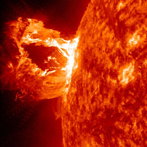 An eruption on April 16, 2012 was captured here by NASA's Solar Dynamics Observatory in the 304 Angstrom wavelength, which is typically colored in red. Image credit: NASA/SDO/AIA