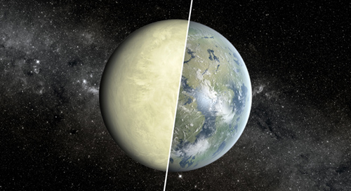 This artist's concept shows a Super Venus planet on the left, and a Super Earth on the right. Researchers use a concept known as the habitable zone to distinguish between these two types of planets, which exist beyond our solar system. Image credit: NASA/JPL-Caltech/Ames