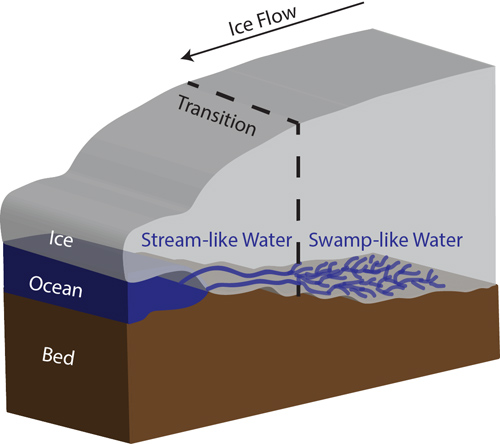 Figure showing the transition from swamp-like water to stream-like water beneath Thwaites Glacier, West Antarctica. Image credit: University of Texas Institute for Geophysics.