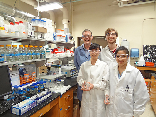 (Back row, left to right): Prof. Benny Freeman and Dan J. Miller. (Front row, left to right): Zhengwang (Lisa) He and Sirirat (Peach) Kasemset holding membrane sample holders for properties characterization. Image credit: The University of Texas at Austin