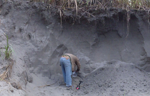 During a 2011 field trip, a regional assistant gathers samples from a deposit left by a catastrophic flood on the Yarlang-Tsangpo River in 2000. Image credit: Karl Lang/UW