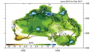 Changes in Australia's mass as reported by data from NASA's Gravity Recovery and Climate Experiment (GRACE) satellites from June 2010 to February 2011. Areas in greens and blues depict the greatest increases in mass, caused by excessive precipitation. The contour lines represent various land surface elevations. A new study co-authored and co-funded by NASA finds extensive flooding in Australia, combined with the continent's soils and unique topography, were the biggest contributors to the drop in global sea level observed in 2010 and 2011. Image credit: NCAR/NASA/JPL-Caltech (Click image to enlarge)