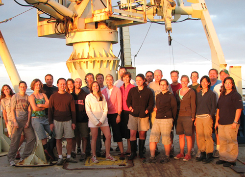 Scientists traveled from Brazil to Namibia aboard the research vessel Knorr, which is owned by the U.S. Navy and operated by WHOI for the ocean research community, to gather data for the CoFeMUG expedition in 2007. The expedition aimed to map ocean chemistry and microbial life along the ship's route. (Photo courtesy of Mak Saito, Woods Hole Oceanographic Institution)