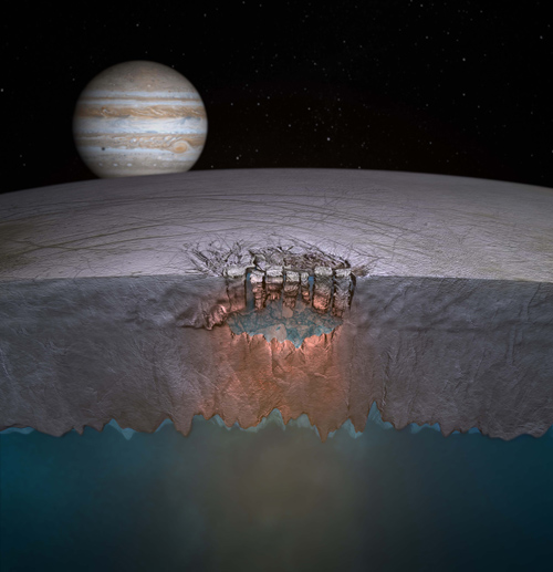 "Europa's ""Great Lake"" discovered in 2011. Scientists speculate many more exist throughout the shallow regions of the moon's icy shell. Credit: Britney Schmidt/Dead Pixel VFX/Univ. of Texas at Austin."