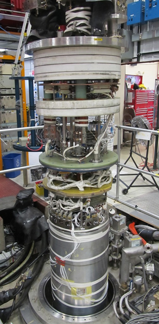At Fermilab's Vertical Magnet Test Facility, the new HQ02a quadrupole achieved all its challenging objectives. (Photo by Guram Chlachidze, Fermilab)