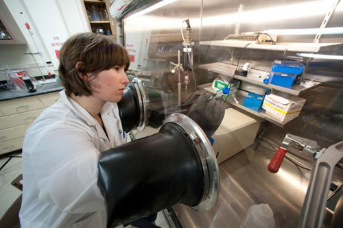 UMass Amherst graduate student Lucy Stewart working in an oxygen-free chamber. She will be on the Falkor cruise. Photo courtesy of UMass Amherst