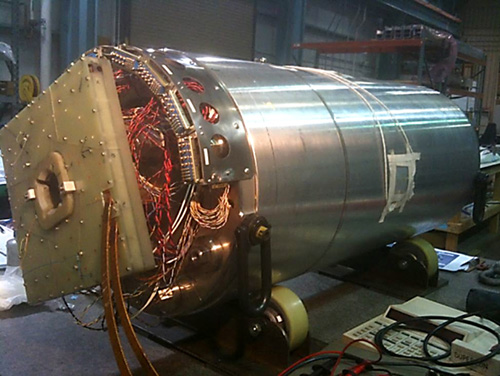 HQ02a is a superconducting quadrupole magnet made from high performance niobium tin that will play a key role in developing a new beam focusing system for CERN's Large Hadron Collider. Image credit: Berkeley Lab