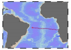 The map shows the location of the ocean section where the plume was detected, highlighted in red. (Figure by Abigail Noble, Woods Hole Oceanographic Institution) (Click image to enlarge)