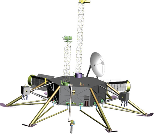 Depiction of the model Europa lander implementation. Descriptions of the model payload are provided in the 2012 NASA lander study (Image credit: Europa Study Team, 2012).