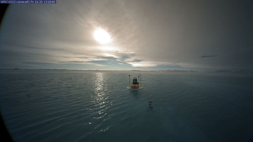 The view from webcam 2 on July 26 shows open water on the ice. Image credit: NSF North Pole Environmental Observatory