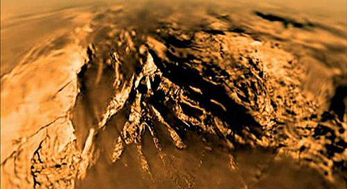 This movie was built with data collected during the 147-minute plunge through Titan's thick orange-brown atmosphere to a soft sandy riverbed by the European Space Agency's Huygens Descent Imager/Spectral Radiometer on Jan. 14, 2005. Image credit: ESA/NASA/JPL/University of Arizona