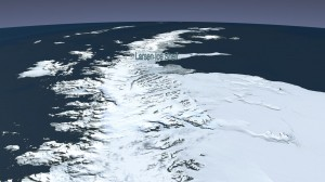 The Larsen B ice shelf began disintegrating around Jan. 31, 2002, and eventually collapsed into the Weddell Sea. University of Michigan researchers have devised a new model of iceberg calving that can mirror this event. Image credit: NASA (Click image to enlarge)