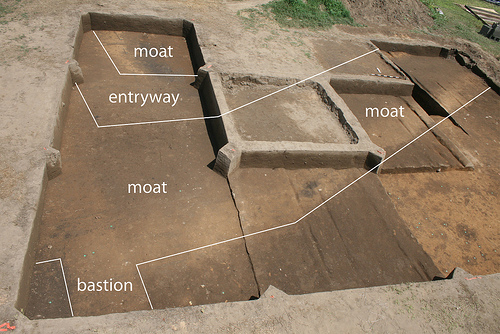 Spanish moat, corner bastion, and entryway revealed, looking north. Image courtesy of the Exploring Joara Project