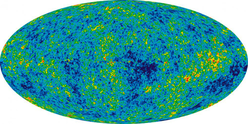 Scientists created this detailed, all-sky picture of the infant universe from nine years of data from the orbiting Wilkinson Microwave Anisotropy Probe. The image reveals 13.77 billion-year-old temperature fluctuations—shown as color differences—that correspond to the seeds that grew to become the galaxies. Physicists now are using clouds of ultracold atoms in a vacuum chamber to simulate the growth of structure in the early universe. Illustration by NASA/WMAP Science Team