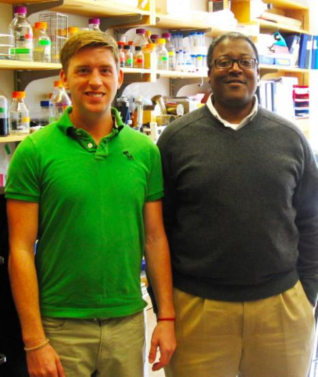 Graduate student Corey Compton, left, and Jason Sello synthesized 14 β-lactones. Four of them killed a close relative of the TB bacterium. β-lactone 7 was the most potent. Image credit: Brown University