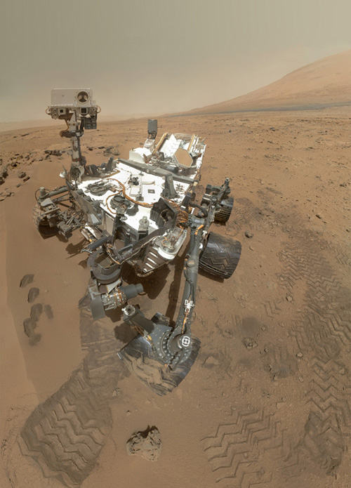 On Sol 84 (Oct. 31, 2012), NASA's Curiosity rover used the Mars Hand Lens Imager (MAHLI) to capture this set of 55 high-resolution images, which were stitched together to create this full-color self-portrait. Image credit: NASA/JPL-Caltech/Malin Space Science Systems