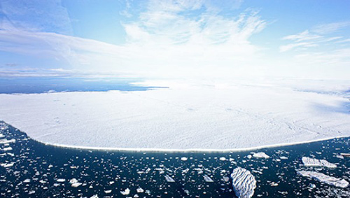 Aerial view of the ice island that broke off Greenland's Petermann Glacier on July 16, 2012. Photo courtesy of Andreas Muenchow, University of Delaware, and Canadian Coast Guard Ship Henry Larsen