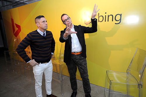 """Jonathan Adler and Scott Erickson after the panel discussion. Jonathan Adler (left) and Bing's Scott Erickson talk design after the panel. The """"product has to function beautifully…and has to communicate something,"""" said Adler. Image credit: Microsoft"""