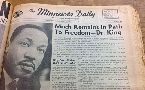 Seven months before his famous speech in Washington, Dr. King delivered a speech to a crowd of about 2,000 in Northrop Auditorium. Image courtesy Minnesota Daily