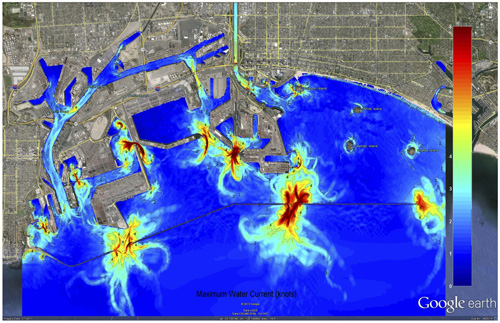 Maximum current speeds for the Port of Los Angeles (POLA) and the Port of Long Beach (POLB), according to the SAFRR Tsunami Scenario. In the POLA, currents are strongest at Angels Gate, the Cabrillo Marina, the Boat Yard, and the old Navy Yard. Once the tsunami event is underway, navigation through the Gate would be very dangerous. In the Cabrillo Marina and Boat Yard, currents are likely strong enough to break apart floating docks, damage piles, and pull small vessels from their mooring lines. The strongest currents are found in the old Navy Yard; however there are no exposed floating assets in this immediate area. At the POLB, again strong currents are found at the Gate. Also in the POLB, strong and jet-like currents are predicted at the entrance to the main cargo container area (Pier J). Currents here may be strong enough to damage, and possible break, mooring lines. Photo Credit: SAFRR Tsunami Scenario.