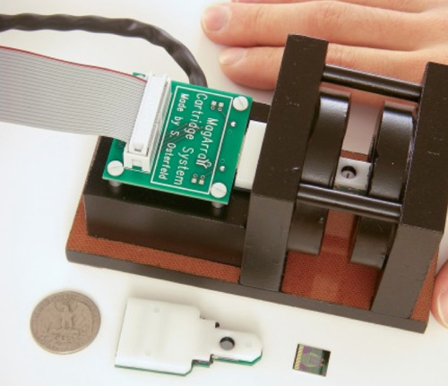 Scientists are developing a portable device that can measure a person's radiation exposure in minutes using radiation-induced changes in the concentrations of certain blood proteins. This image shows a magneto-nanosensor chip reader station, chip cartridge, and chip. (Image credit: S. Wang)