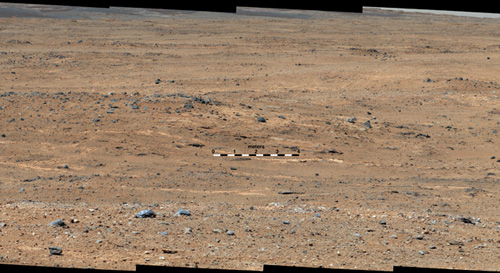 An outcrop visible as light-toned streaks in the lower center of this image has been chosen as a place for NASA's Mars rover Curiosity to study for a few days in September 2013. Image credit: NASA/JPL-Caltech/MSSS